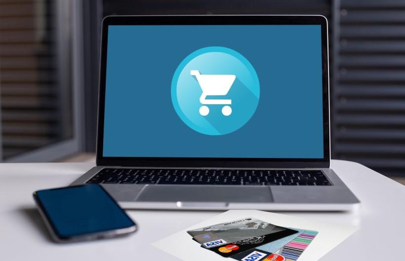 E-Negócio logo tipo carrinho de compras